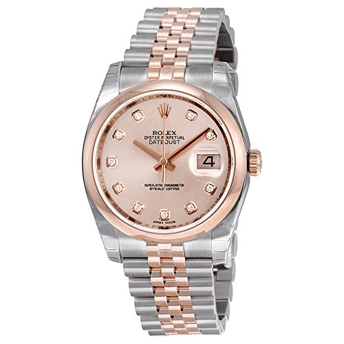 Rolex Oyster Perpetual Datejust 36 Automatic Pink Dial 18kt Everose Gold and Stainless Steel Ladies Watch (Rolex Datejust Perpetual)