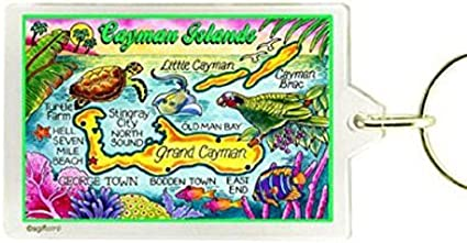 "CAYMAN ISLANDS MAP ACRYLIC RECTANGULAR KEYCHAIN 2.5/"" X 1.5/"""