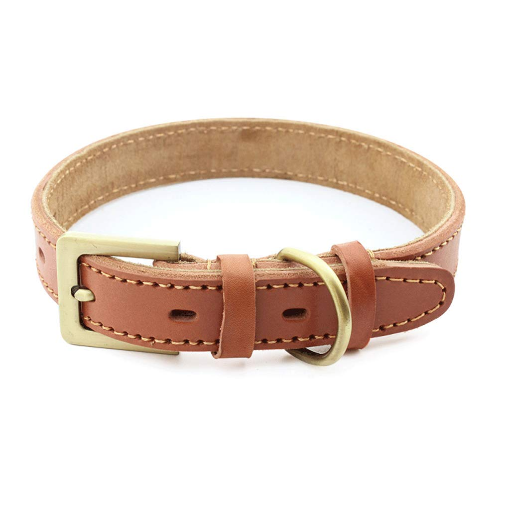 M Artificial Leather Pet Collar Alloy Buckle Retro Dog Chain Suitable for Medium and Large Dogs Brown (Size   M)