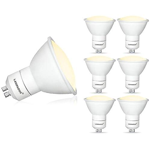 Lampaous - Juego de 10 lámparas led GU10 de 5 W de potencia, regulables, color blanco cálido, ...