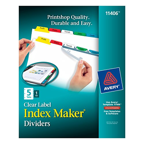 Avery Index Maker Label Dividers (Avery Index Maker Clear Label Dividers, 5-Tabs, 1 Set (11406))