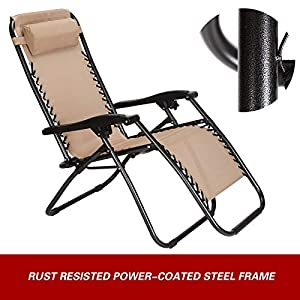Superworth Set Of 2 Folding Zero Gravity Chairs Beach Chairs Sun Lounger Recliner For Beach Patio Garden Camping Outdoor…