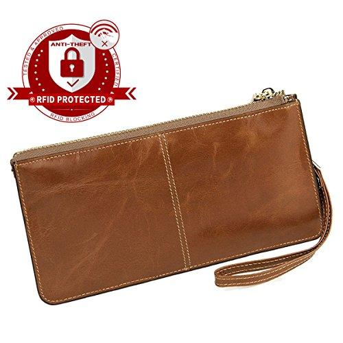 Womens Leather Wristlet - 1