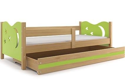 Lettino per bambini, Nicolò 160x80 (Verde), letto con cassettone ...