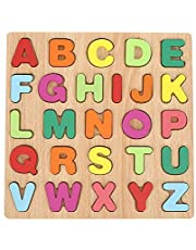 Wooden Numbers Alphabet, Colorful Early Education Children Toy Alphabet/Number Puzzle Set Gift for Kids Children, Polished Smoothly, Without Burrs Capital Letter-Wood