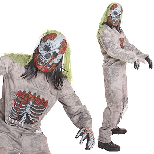 Mens Infected Zombie Skeleton Costume - 4 Piece Quality Costume,STD (42-44 Inch/107-112 cm (Quality Costumes)