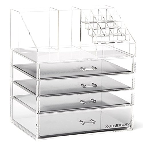 NEW Makeup Organizer with 4 Magnetic Palette Drawers! Premium Large Acrylic Box. Pro Vanity Case. by Dollup Beauty
