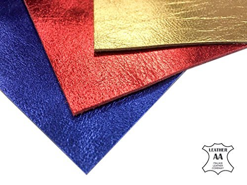 Genuine Leather Metallic Leather Fabric: 3 Real Leather Sheets for Leathercrafts-10x10in/~2oz (Multi, 10x10)