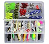 Cheap KMBEST Fishing Lures 101PCS/Box Mixed Lots including Hard Lure Minnow Popper Crankbaits VIB Topwater Diving Floating Lures Soft Plastics Worm Spoons Other Saltwater Freshwater Lures with Tackle Box