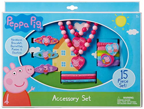 Peppa Pig Necklace Bracelet and Hair Accessory Set 15 Piece, Pink