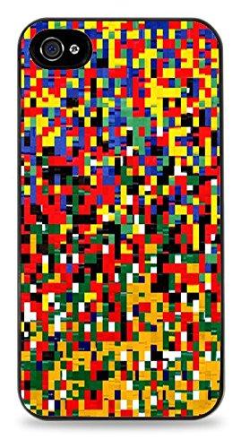 Trendy Accessories Multi Colour Small Square Image Print Black Silicone Case for iPhone 4 / 4S