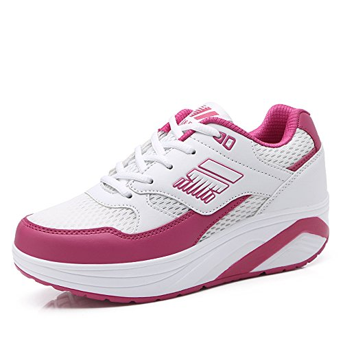 GD-A966baimeihong37 EnllerviiD Women Mesh Shape Ups Fashion Sneakers Platform Wedges Sports Fitness Work Out Shoes White/Rose 6 B(M) US