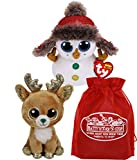Ty Beanie Boos Buttons (Snowman) & Gltzy (Reindeer) Holiday Set Bundle with Bonus Matty's Toy Stop Storage Bag - 2 Pack