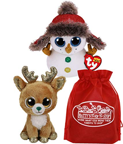 95ff4e27355 Ty Beanie Boos Buttons (Snowman)   Gltzy (Reindeer) Holiday Set Bundle with