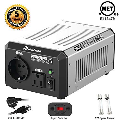 - KRIËGER 150 Watt Voltage Transformer, 110/120V to 220/240V Step Up Step Down Voltage Converter, MET Approved Under UL, CSA