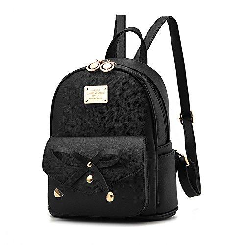 Girls Leather Mini Backpack Purse Cute Bowknot Fashion Small Backpacks Purses for Teen Women - Black (Mini Backpack Bag)