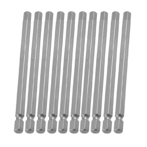 uxcell 10 Pcs 1/4 inches x 100mm x 6mm Magnetic Hex Hexagon Tip Screwdriver Bits ()