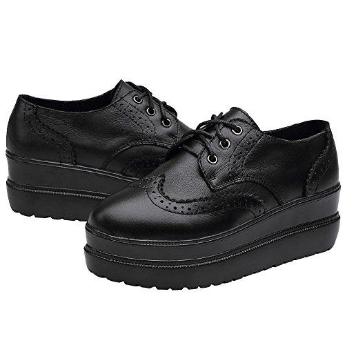 Rismart Femmes Conception Brogue Coins Élégants En Cuir Noir Pur Mode Sneakers Chaussures Sn02719 (noir, Us7.5)