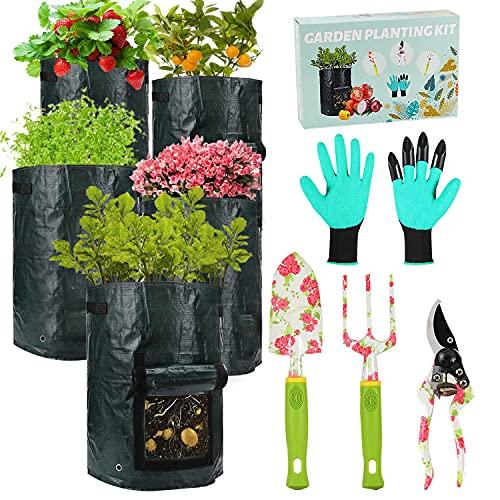 Gardening Tools Set - 9 PCS Heavy Duty Garden Tools, 5 PCS 10 Gallon Grow Bags + 4 Aluminum Garden Hand Tools with…