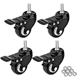 1.5'' Threaded Stem Casters with Brake, Heavy Duty Swivel Caster wheels with M8x25 Threaded Stem and Nuts for Shopping Carts, Trolley, Workbench, Furniture (Pack of 4)