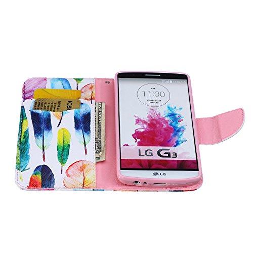 Funda LG G3, LG G3 Carcasa Funda Cuero [Pluma Libre] LG G3 Case Book Estilo Libro billetera con correa de cordón Magnético Folio Flip Caso pata de cabra titular de la tarjeta patrón de impresión Sopor Las plumas de colores