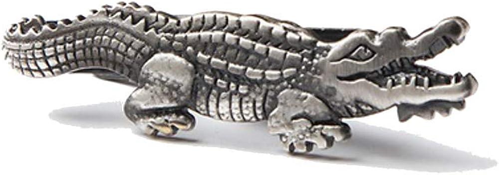 """Men's Premium Antiqued Alligator Crocodile 1.75"""" Metal Tie Bar Clip"""