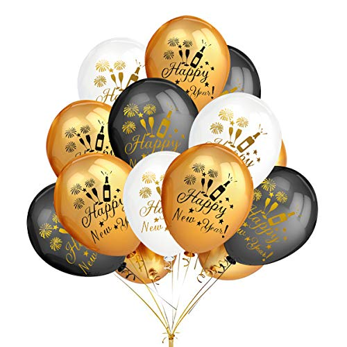 50Pcs Gold & Black & White Color Latex Printed Happy New Year Balloons- New Year Eve Party Holiday Christmas Party Decoration Supplies -