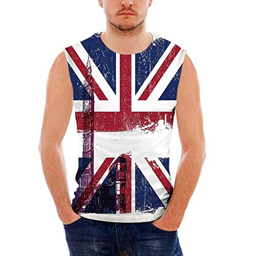 Union Jack Custom Graphic Tank Tops,Grungy Aged U K Flag Big Ben Double Decker Co ()