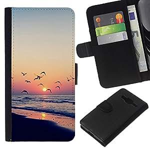 All Phone Most Case / Oferta Especial Cáscara Funda de cuero Monedero Cubierta de proteccion Caso / Wallet Case for Samsung Galaxy Core Prime // Twilight coast