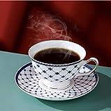 Porlien Exquisite Porcelain Gold Trimmed Royal Blue Teacup & Saucer Set with Teaspoon for Tea/Coffee, 5Oz