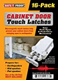 Safe-T-Proof STP-MP-600-WH-2216 White Cabinet Door Touch Latches (16 Count)