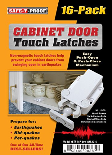 Safe-T-Proof STP-MP-600-WH-2216 White Cabinet Door Touch Latches (16 Count) by Safe-T-Proof