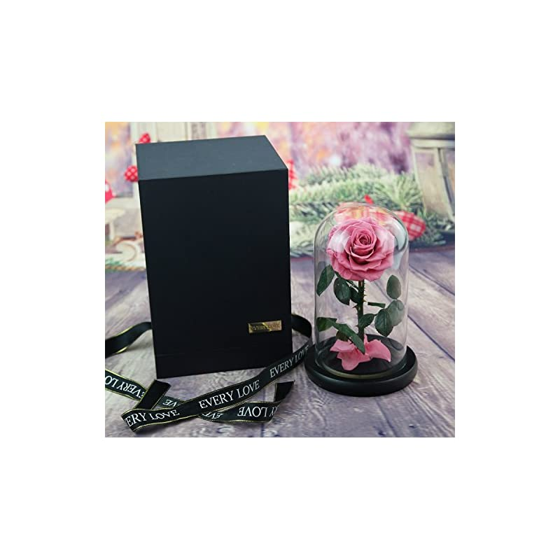 silk flower arrangements sexyrobot beauty and the beast rose,handmade preserved fresh flower real rose with fallen petals in a glass, with exquisite box (dark pink)