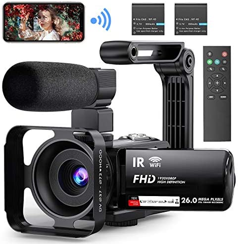 "Video Camera Camcorder WiFi YouTube Vlogging Camera FHD 1080P 30FPS 26MP 16X Digital Zoom IR Night Vision 3"" Touch Screen Digital Video Recorder with Microphone, Stabilizer, 2.4G Remote, 2 Batteries"