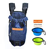 NEFBENLI Denim Blue Front Kangaroo Pouch Dog Carrier,Wide Straps with Shoulder Pads Adjustable and Legs out Pet Backpack,Included 2-Pack Collapsible Travel feeding Bowls (Denim Blue+2Bowls, Large)