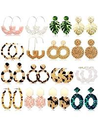 16 Pairs Statement Rattan Earrings for Womens Fun Acrylic Resin Earrings Trendy Bohemian Fashion Jewelry Earrings Set