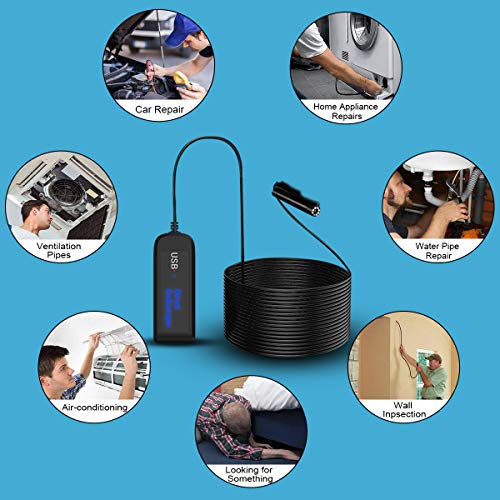 USB Endoscope, Riocean 33FT/10M 1200P 5.0MP IP67 Waterproof Snake Camera Borescope Inspection Camera with 8 Adjustable LED Lights,OTG and UVC Function for Android, iPhone, Samsung, iPad, PC and More