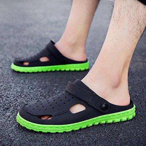 Xing Lin Sandalias De Hombre Los Hombres Zapatillas De Hombres Fresco Verano Zapatillas Para Hombres Agujero Doble Del Hombre Zapatos Calzado De Playa De Hombres Mitad Zapatillas Perezoso Hombres Vade dark green