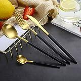 Wall of Dragon Best 4 Pcs/set Black Gold Dinnerware Set 304 Stainless Steel Western Cutlery Set Kitchen Food Tableware Dinner Set
