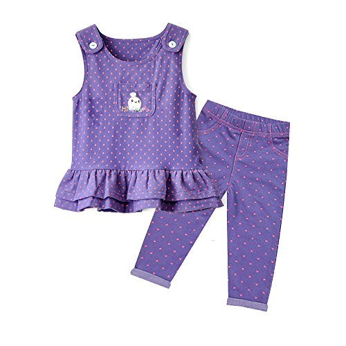 HIMIPOPO Baby Girls Ruffle Jumper Dress Suspender Skirts With Baby Girl Leggings Toddler Clothes Set (Purple, 100)
