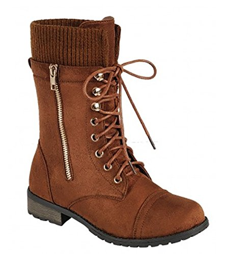 Forever Link Womens Mango-31 Runde Zehe Military Lace Up Knit Knöchel Manschette Low Heel Combat Boots Tan Nb