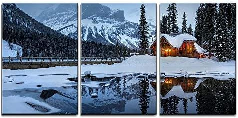 Winter Landscape with Cabin Hut at Night x3 Panels