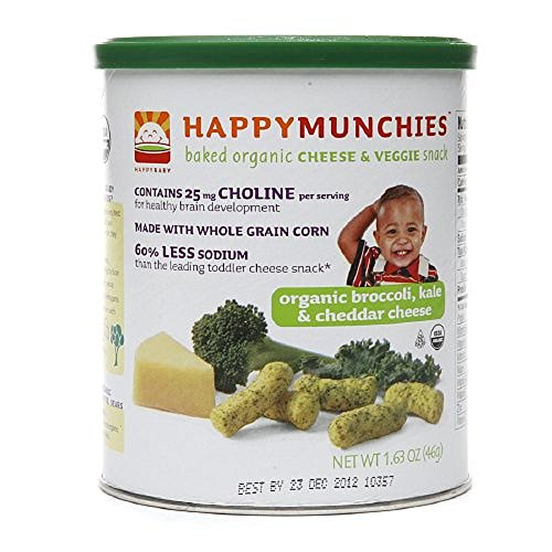 Happy Munchies Baked Organic Cheese & Grain Snack, Organic Broccoli, Kale & Cheddar Cheese, 1.63-Ounce Canisters (Pack of 6) New Born, Baby, Child, Kid, Infant