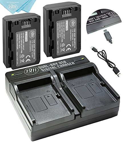BM Premium 2 Pack of NP-FZ100 Batteries and Dual USB Battery Charger for Sony Alpha 9, Sony A9, Sony Alpha 9R, Sony A9R, Sony Alpha 9S, Sony A7RIII, A7R3, Sony a7 III Digital Cameras by BM Premium
