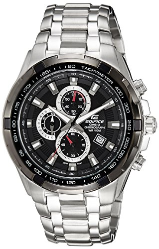 Men's Stainless Steel Edifice Black Dial Tachymeter by Casio