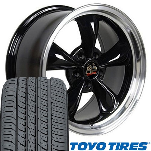 17x8 Wheels & Tires Fit Ford Mustang - Bullitt Style Black Rims - Toyo Tires - SET Black Bullitt Wheel