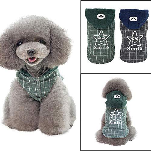 RSHSJCZZY Pet Dog Plaid Hoodie Windproof Cold Weather Coat Reusable Winter Dog Coats