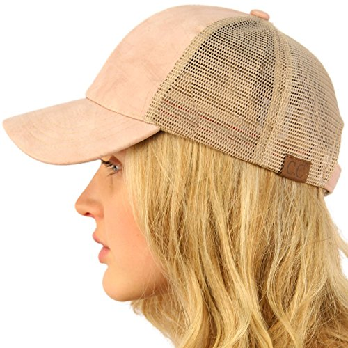 - CC Everyday Mesh Trucker Faux Leather Plain Blank Baseball Cap Hat Solid Indi Pink