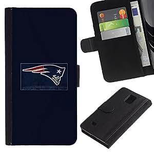 Patriota NFL - la tarjeta de Crédito Slots PU Funda de cuero Monedero caso cubierta de piel Para Samsung Galaxy Note 4 IV