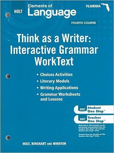 Amazon.com: Holt Elements of Language Florida: Think As a Writer ...